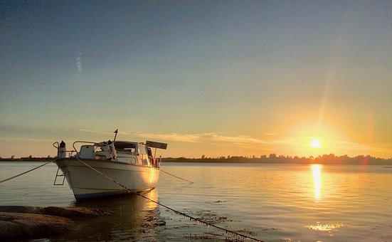Sunset, Boat, Sea, Albin 25, Summer, Sweden, Nature