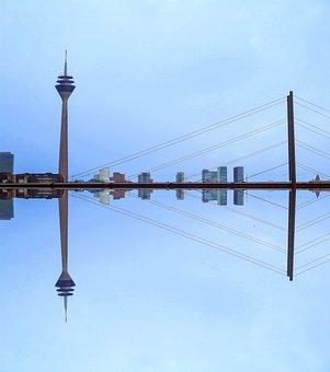 Düsseldorf, Tv Tower, Bridge, Landmark, Skyline