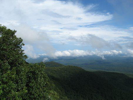 Caesar's Head, Low Clouds, Mountains, Fall, Landscape