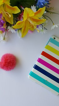 Flowers, Stripes, Ipad, Pink, White, Flora, Colorful