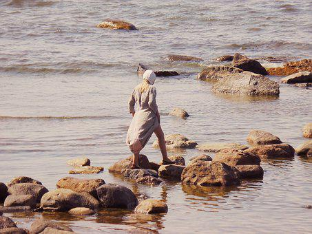 Girl, Medieval, Vintage, Sweden, Beach, Summer, Woman