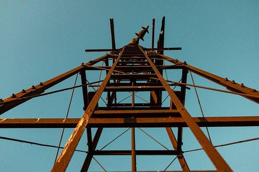 Metal Frame, Pinwheel, Stairs, Industry, Crane, Sky