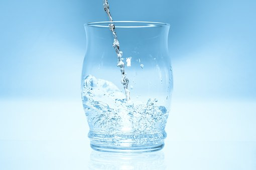 Glass, Water, High Jumping Drops, Blue, Mirroring