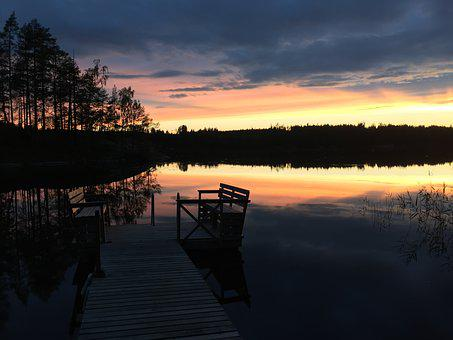 Finland, More, Colorful Sunset, Clouds, Reflection