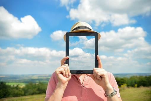 Person, Abstract, Ipad, No Face, Sky, Clouds, Man