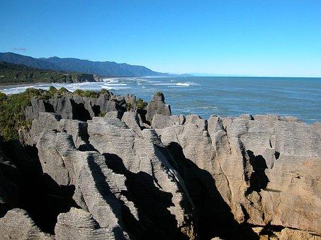 Pancake Rocks, New Zealand, Coast, Sea, Ocean, Mountain