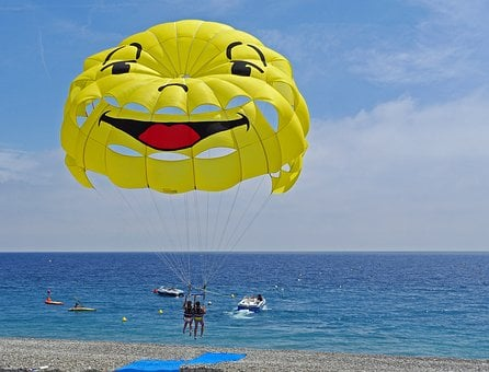 Parasailing, Start, Beach, Coast, Mediterranean, Screen