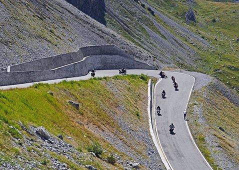 Pass Driving, Biker, Stelvio Yoke, Serpentine, Group