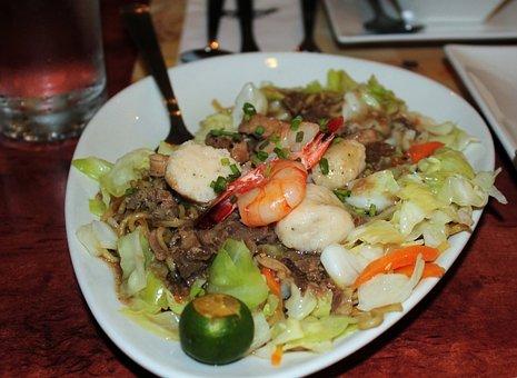 Pancit Canton, Food, Pasta, Noodles, Shrimp, Guisado