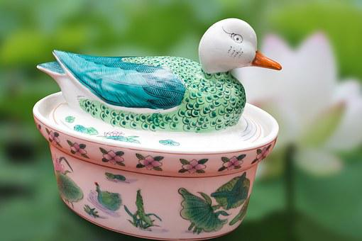 Duck, Porcelain, China, Asia, Decor, Traditionally