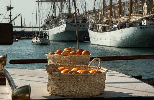 France, Sète, Port, Sailboats, Boats, Oranges