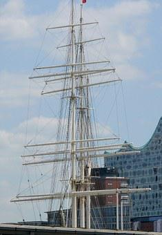 Sail Masts, Sailing Vessel, Masts, Ship, Port, Sea