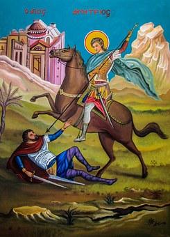 Ayios Dimitrios, Saint, Iconography, Fresco, Painting