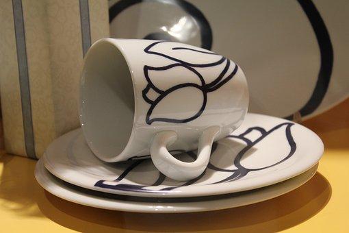 Cup, Breakfast, Porcelain, Saucers, Tableware, Flower