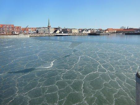 Port, Ice, Pancake Ice, Harbor, Blue, Sunny, Blue Sky