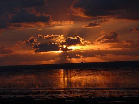 Sunset, Sun, Sunlight, Sunbeam, Fireball, Setting Sun