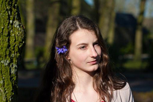 Girl, Flower In Its, Long Hair, Sun, Trees, Nature