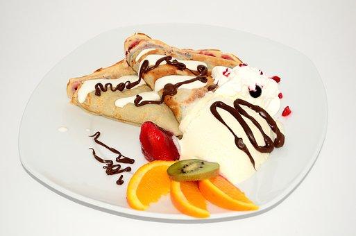 Pancakes, Dessert, Fruit, Sweets, Whipped Cream, Eating