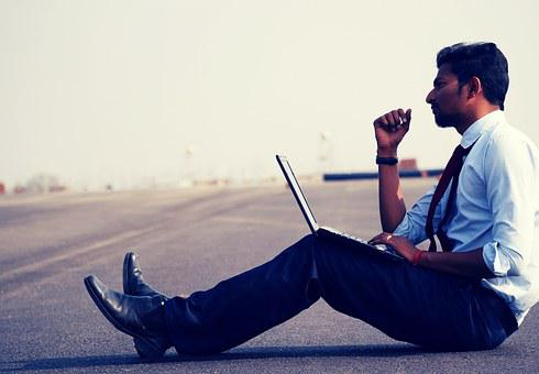 Man, Work, Think, Laptop, Professional, Young, Person