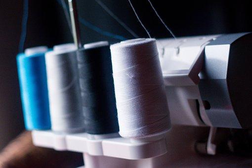 Sewing, Thread, Yarn, Sewing Machine, Neck, Blue, Black