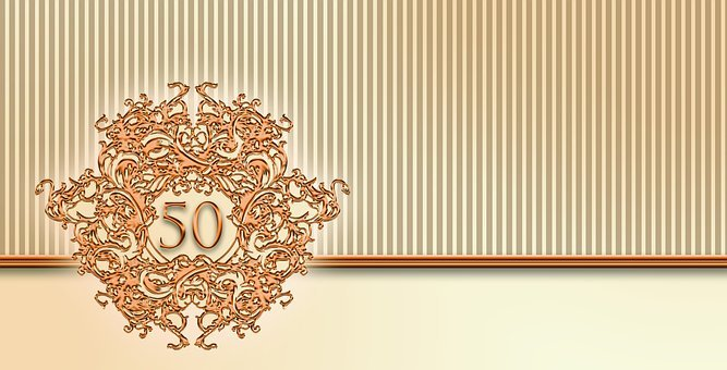 Anniversary, Gold, 50, Greeting Card