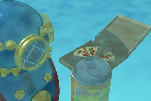 Pizza, Underwater, Diver, Cola, 3d, Water, Aquatic
