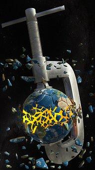Earth, Globe, Environment, Destruction, Explosion, 3d