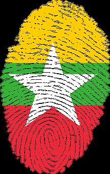 Burma, Flag, Fingerprint, Country, Pride, Identity