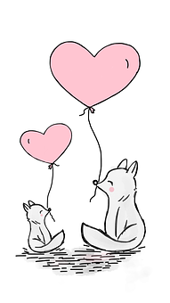 Fox, Love, Heart, Balloon, Mother And Child, Cute