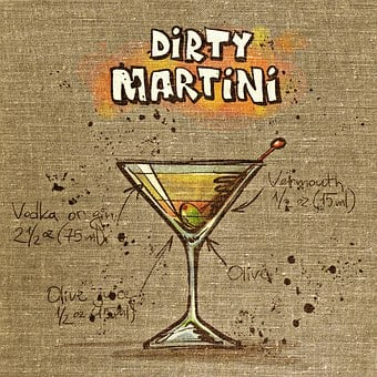 Dirty Martini, Cocktail, Drink, Tissue, Fabric, Alcohol