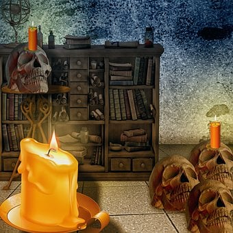 Candle, Skull And Crossbones, Cabinet, Light, Wax