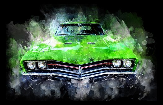 Car, Green, Watercolor, Old Car, Vehicle