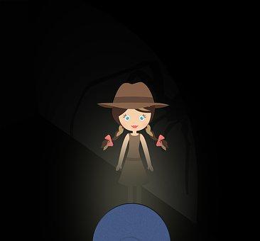 Doll, Hat, Flashlight, Dark, Spider, Baby Girl, Shadow