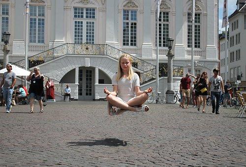 Levitation, Girl, City, Posing, Building, Dream