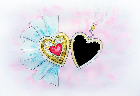 Pendant, Love, Medallion, Favorite, Romance, Watercolor
