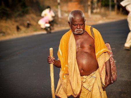 India, Man, Walking, Yellow, Elderly, Person, Senior