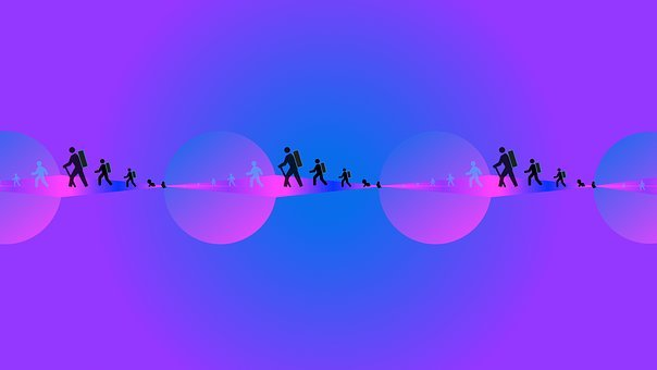 People, Hiking, Silhouette, Virtual Reality, Oneness