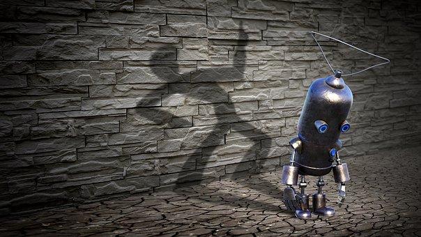 Fantasy, Robot, Shadow, Wall, Science Fiction