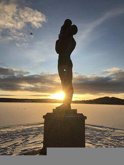 östersund, Statue, Sunset, Winter, Snow, Himmel