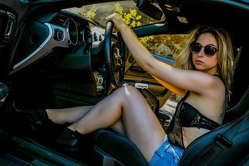 Woman, Girl, Women, Auto, Motor, Mustang, Portrait