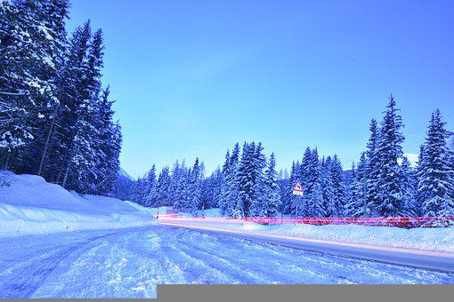 Winter, Street, Road, Snow, Christmas, Frost, Trees