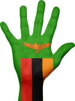 Zambia, Flag, Hand, National, Fingers, Patriotic
