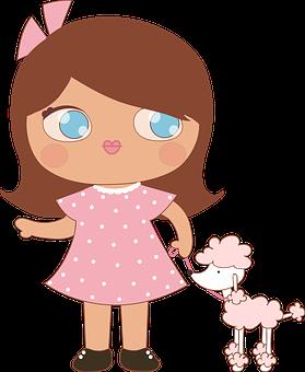 Girl, Wrist, Dog, Poodle, Play, Figure, Cute, Beauty