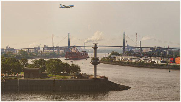 Hamburg, View, Bridge, Water, City, Port, Elbe, River
