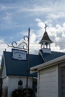 Church, Rural, Cross, Timber, Village, Sign, Blue, Roof