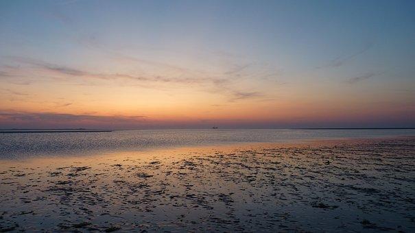 Sea, Sun, Water, Landscape, Sunset, Clouds, Sand