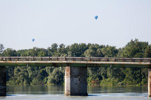 Sky, Balloon, Bridge, River, Flying, Freedom, Air