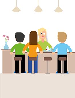 Bar, Guests, Bar Stool, Waitress, Gastronomy