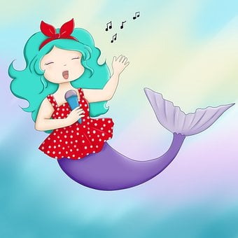 Mermaid, Sing, Song, Happy, Rockabilly, Bright