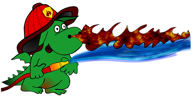Cartoon, Dragon, Fire Fighter, Fire